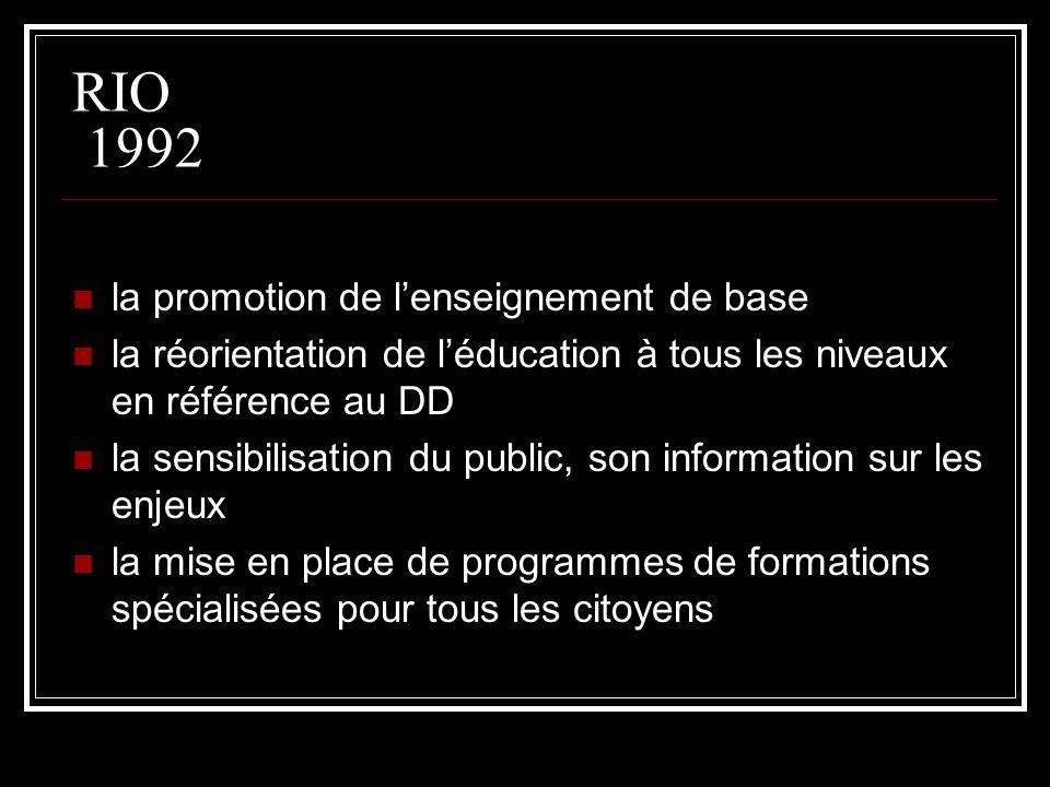 RIO 1992 la promotion de l'enseignement de base
