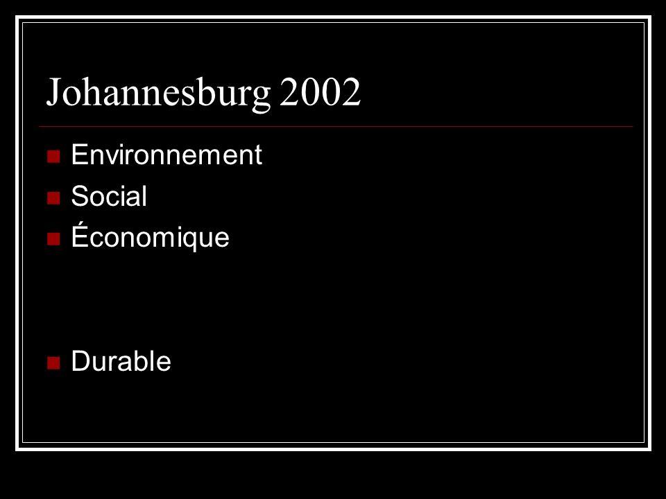 Johannesburg 2002 Environnement Social Économique Durable