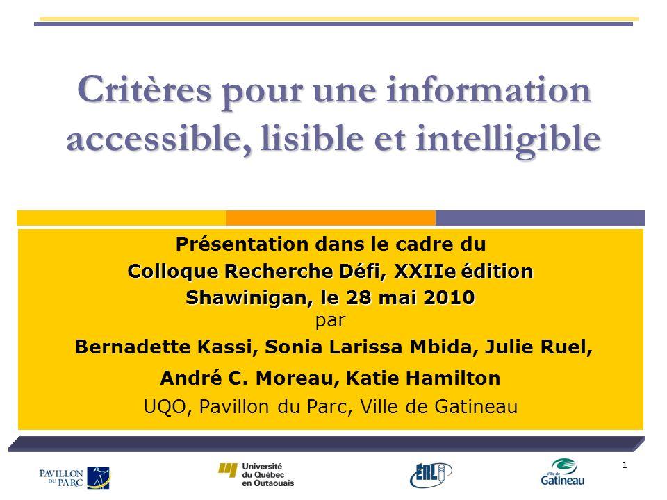 Critères pour une information accessible, lisible et intelligible