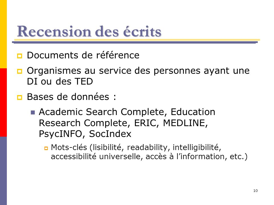 Recension des écrits Documents de référence