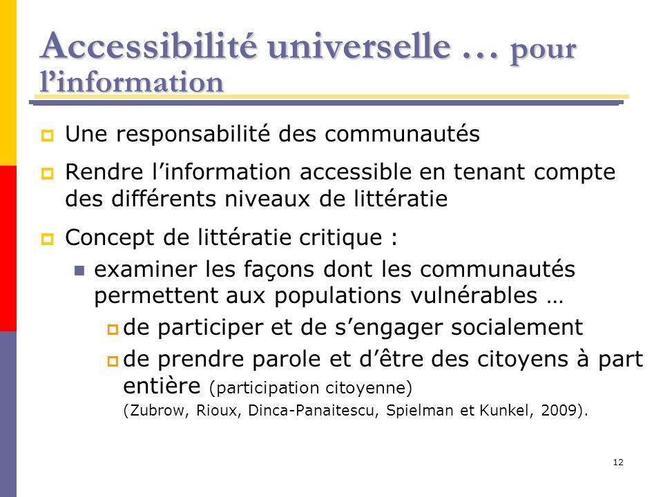 Accessibilité universelle … pour l'information