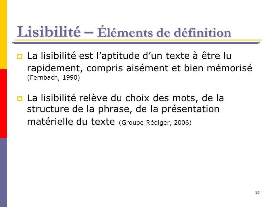 Lisibilité – Éléments de définition