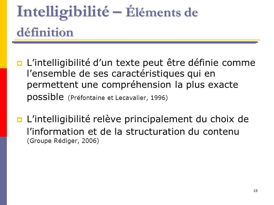 Intelligibilité – Éléments de définition
