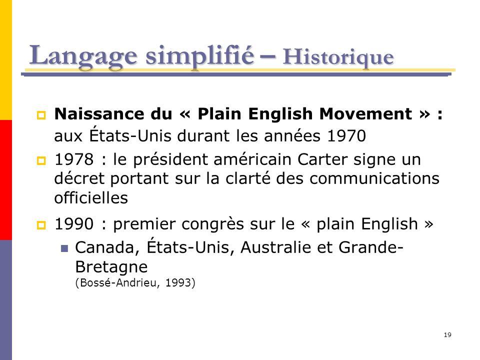 Langage simplifié – Historique