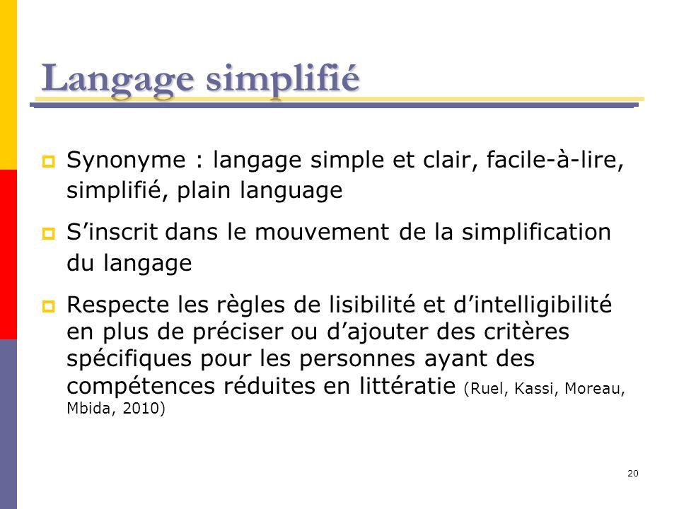 Langage simplifié Synonyme : langage simple et clair, facile-à-lire, simplifié, plain language.