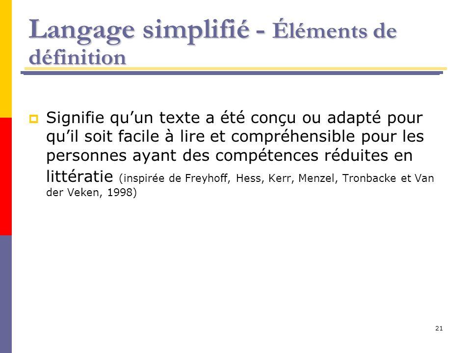 Langage simplifié - Éléments de définition