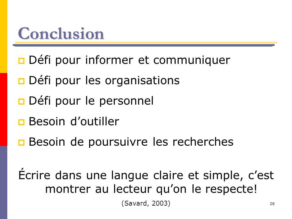 Conclusion Défi pour informer et communiquer