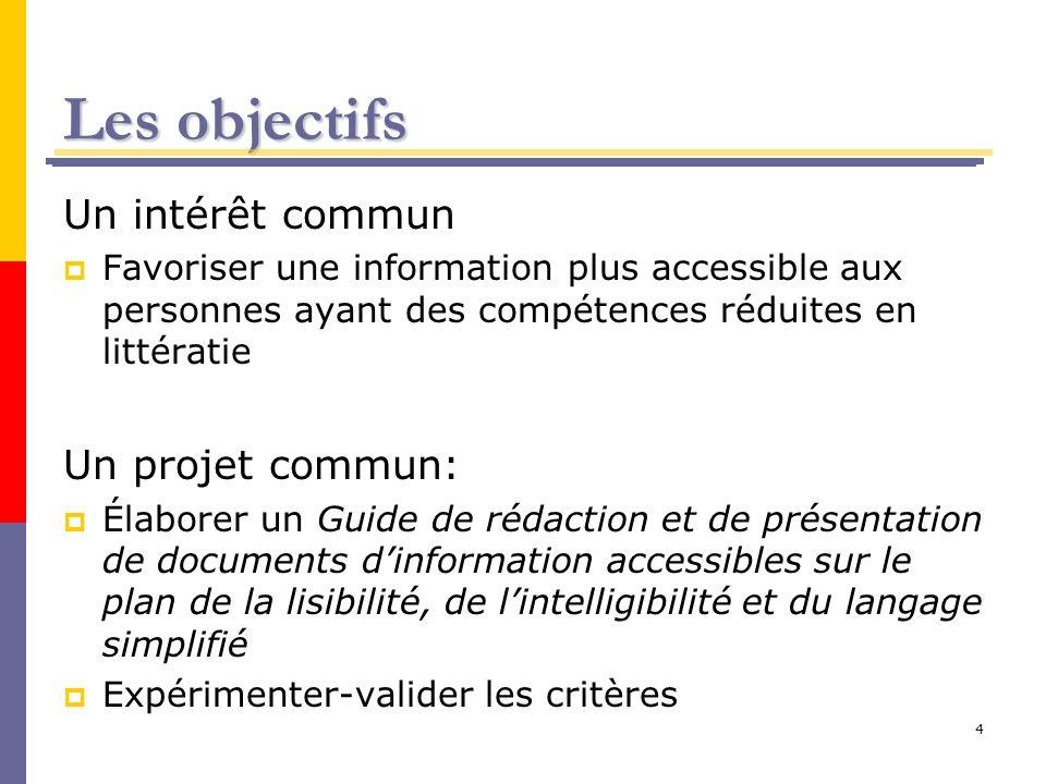 Les objectifs Un intérêt commun Un projet commun: