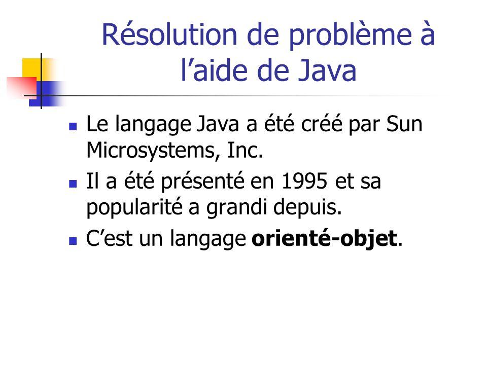 Résolution de problème à l'aide de Java