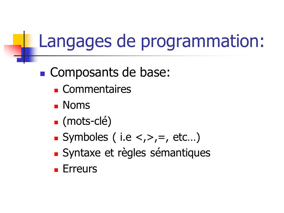 Langages de programmation: