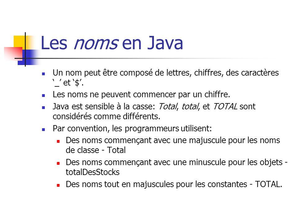 Les noms en Java Un nom peut être composé de lettres, chiffres, des caractères '_' et '$'. Les noms ne peuvent commencer par un chiffre.