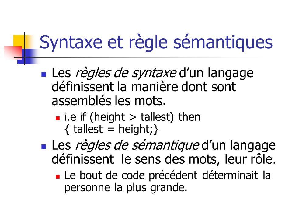 Syntaxe et règle sémantiques