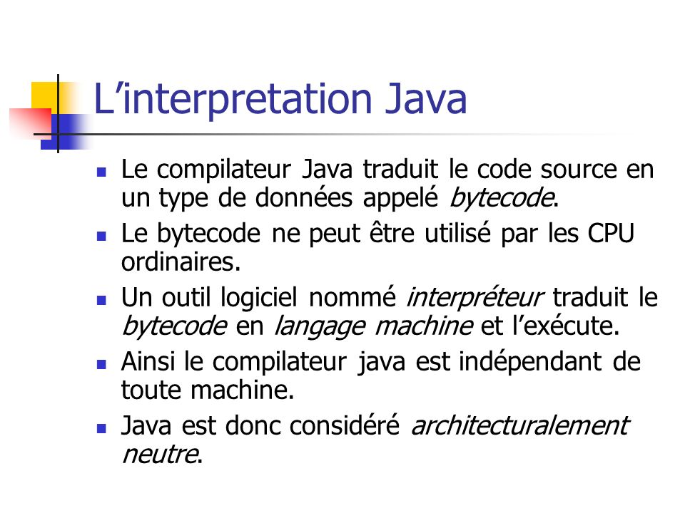 L'interpretation Java