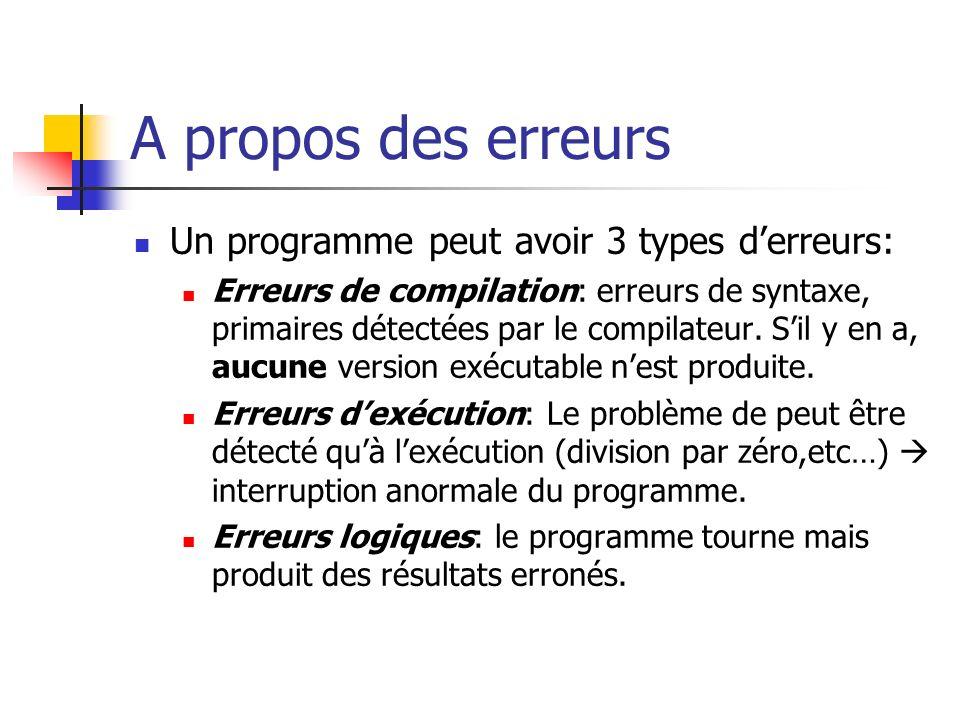 A propos des erreurs Un programme peut avoir 3 types d'erreurs: