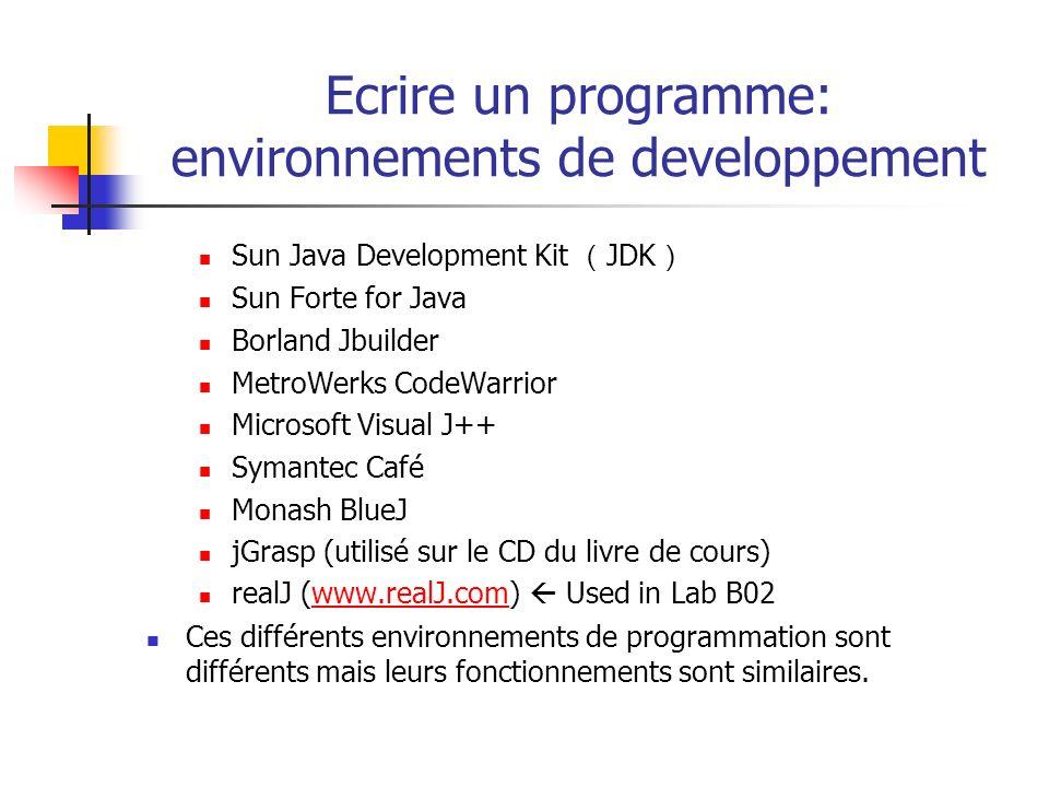 Ecrire un programme: environnements de developpement