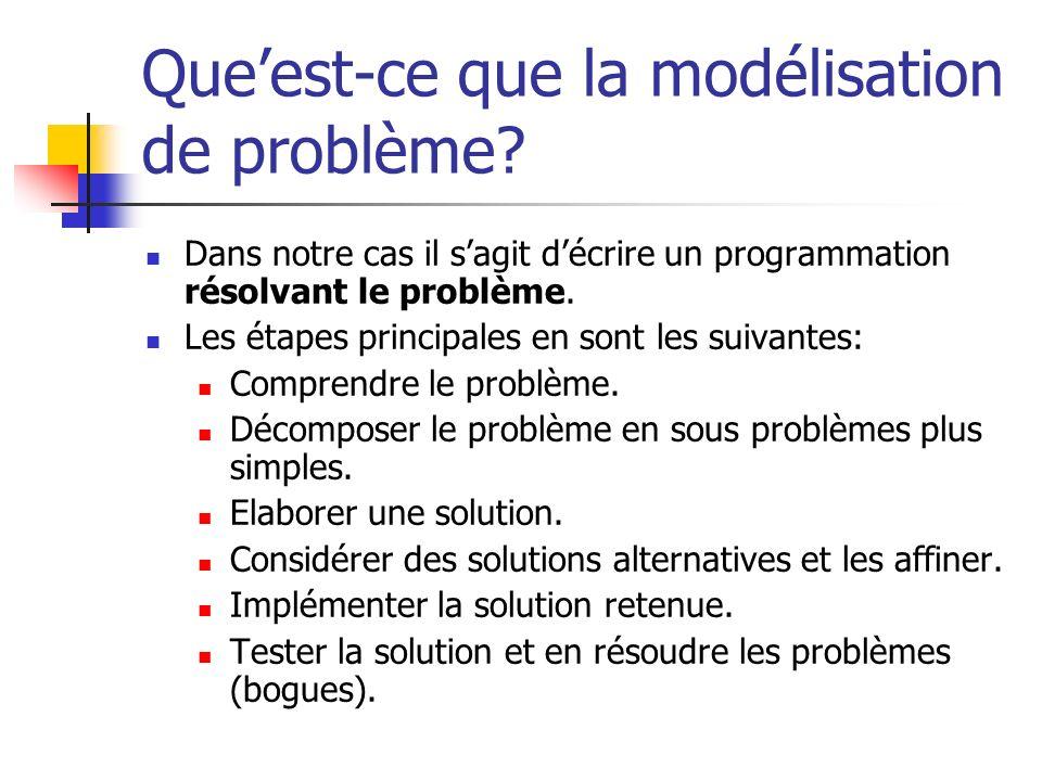Que'est-ce que la modélisation de problème