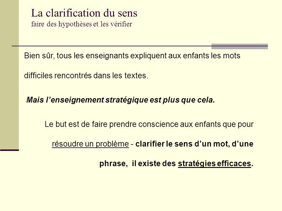 La clarification du sens faire des hypothèses et les vérifier