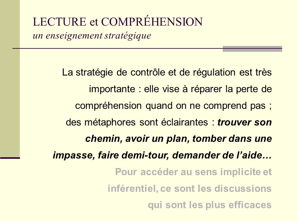 LECTURE et COMPRÉHENSION un enseignement stratégique
