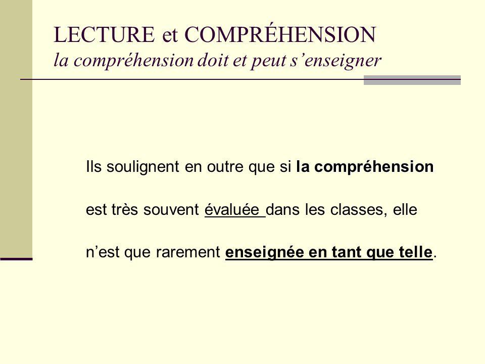 LECTURE et COMPRÉHENSION la compréhension doit et peut s'enseigner