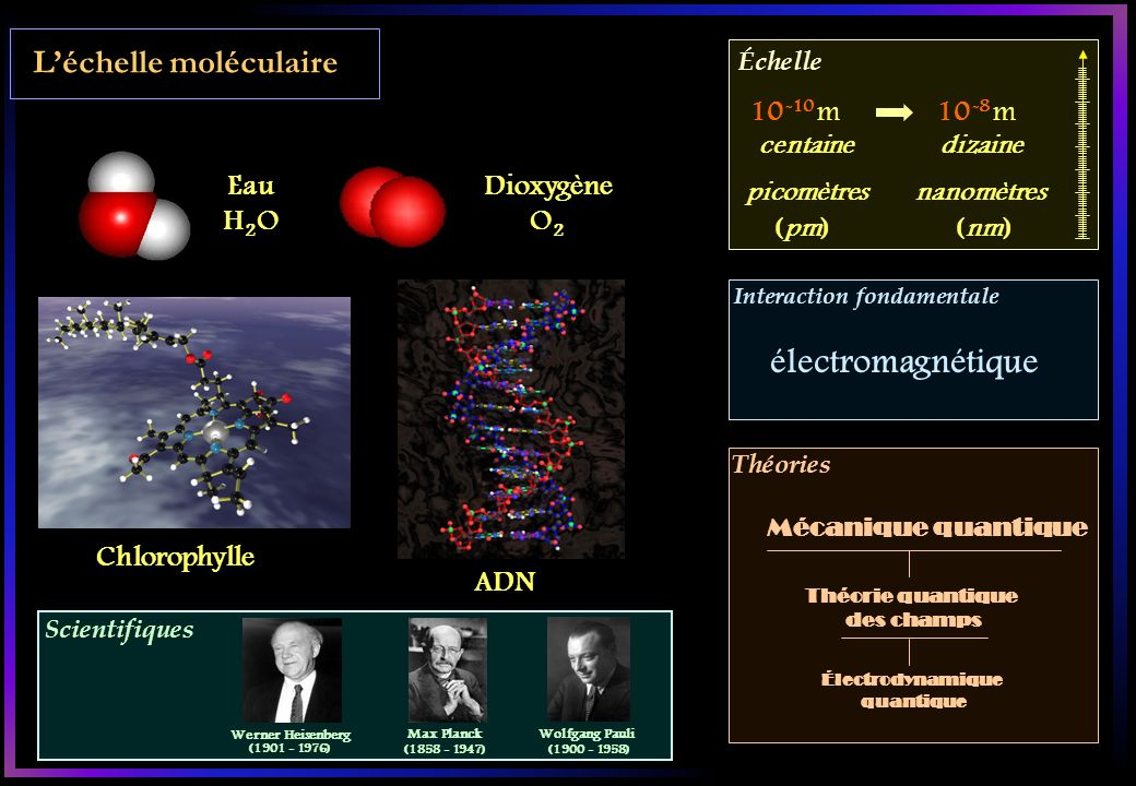 électromagnétique L'échelle moléculaire 10-10 m 10-8 m Eau H2O