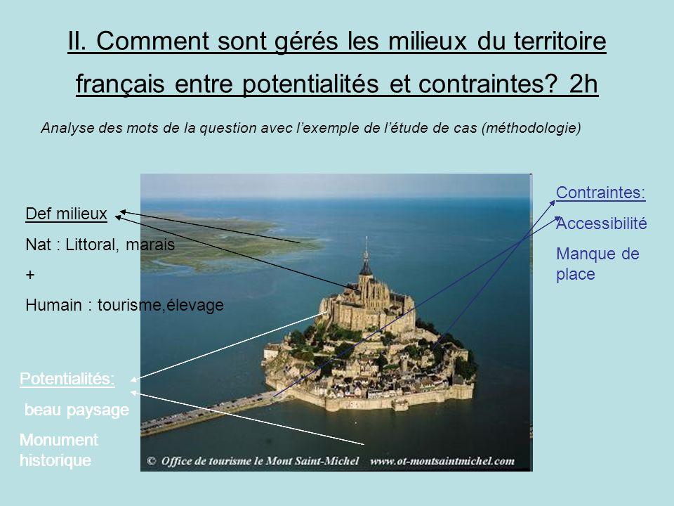 II. Comment sont gérés les milieux du territoire français entre potentialités et contraintes 2h
