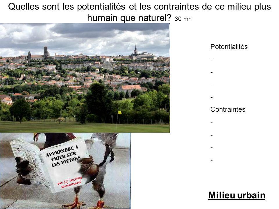 Quelles sont les potentialités et les contraintes de ce milieu plus humain que naturel 30 mn