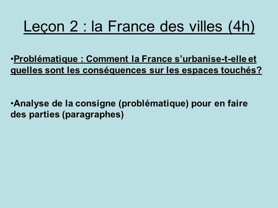 Leçon 2 : la France des villes (4h)