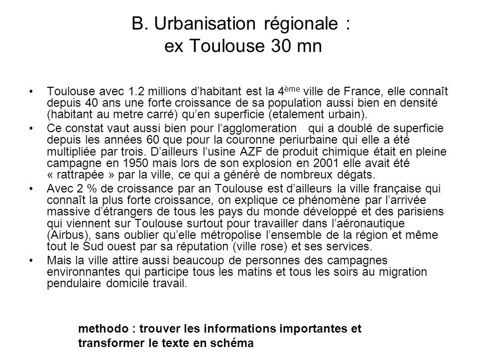 B. Urbanisation régionale : ex Toulouse 30 mn