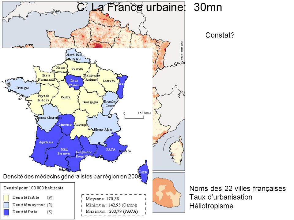 C. La France urbaine: 30mn Constat Noms des 22 villes françaises