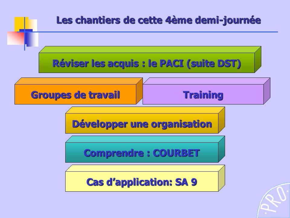 Réviser les acquis : le PACI (suite DST) Développer une organisation