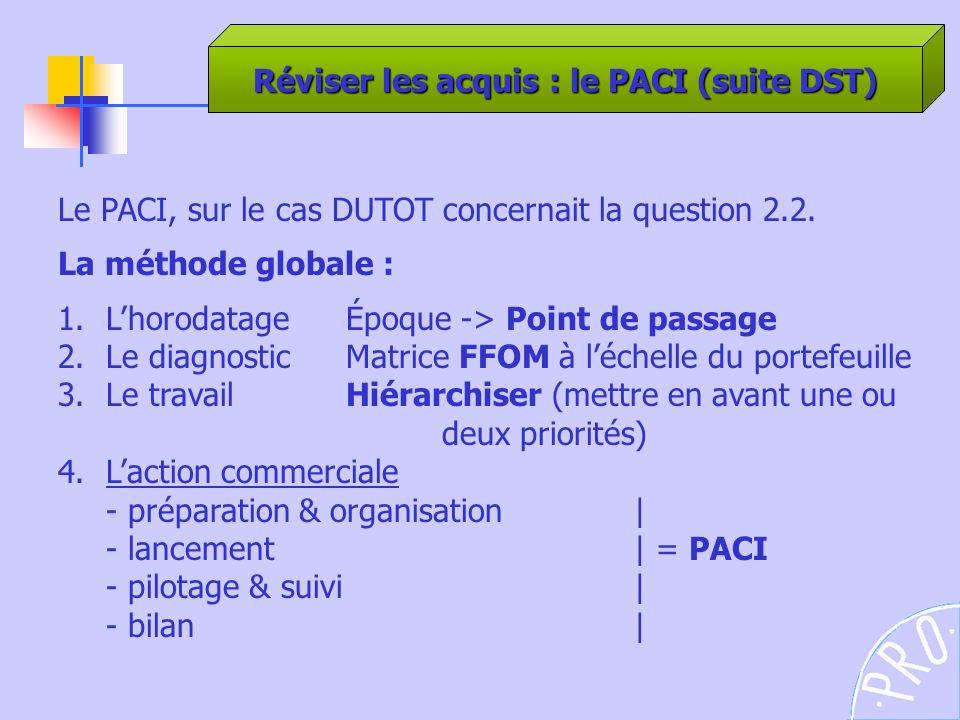 Réviser les acquis : le PACI (suite DST)