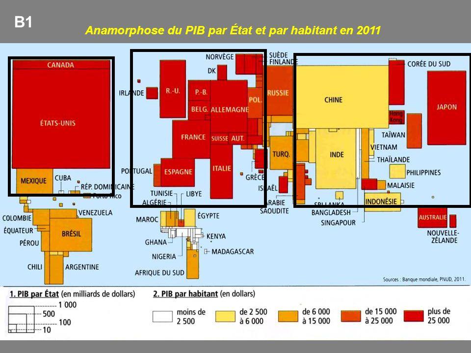 Anamorphose du PIB par État et par habitant en 2011