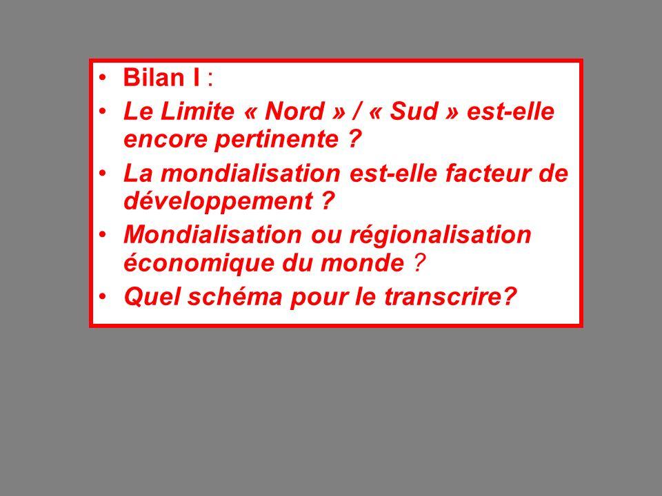 Bilan I : Le Limite « Nord » / « Sud » est-elle encore pertinente La mondialisation est-elle facteur de développement