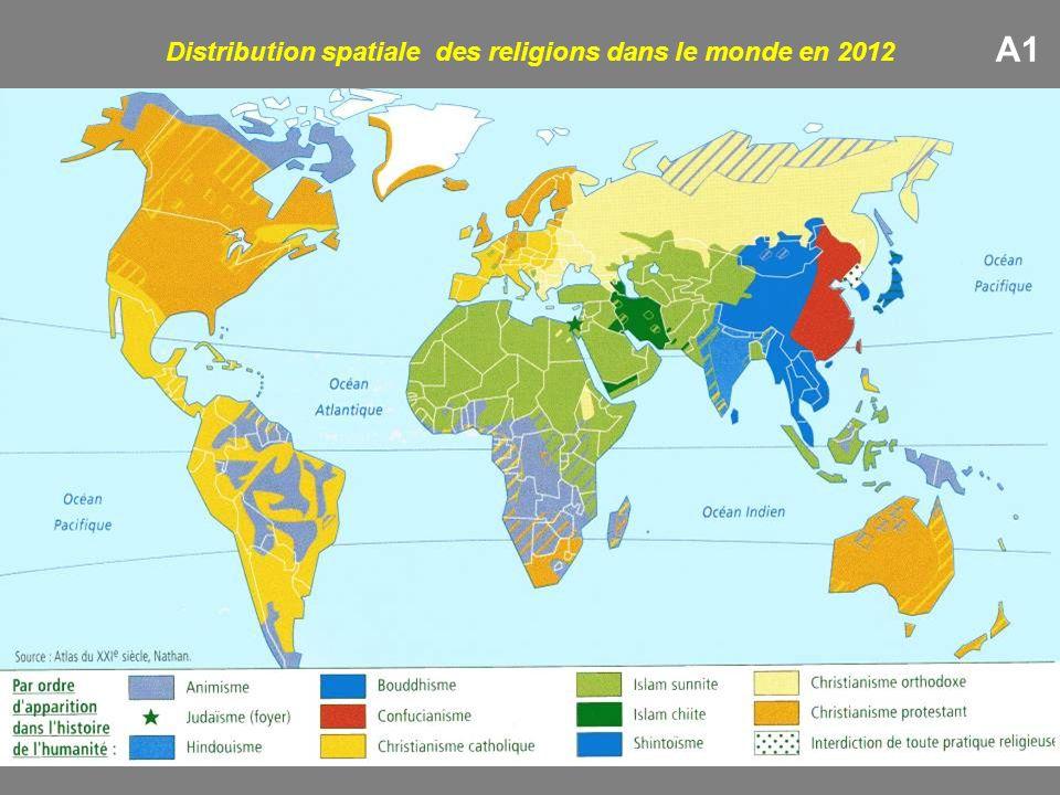 Distribution spatiale des religions dans le monde en 2012