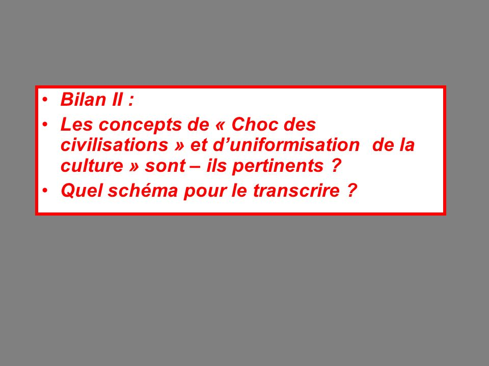 Bilan II : Les concepts de « Choc des civilisations » et d'uniformisation de la culture » sont – ils pertinents