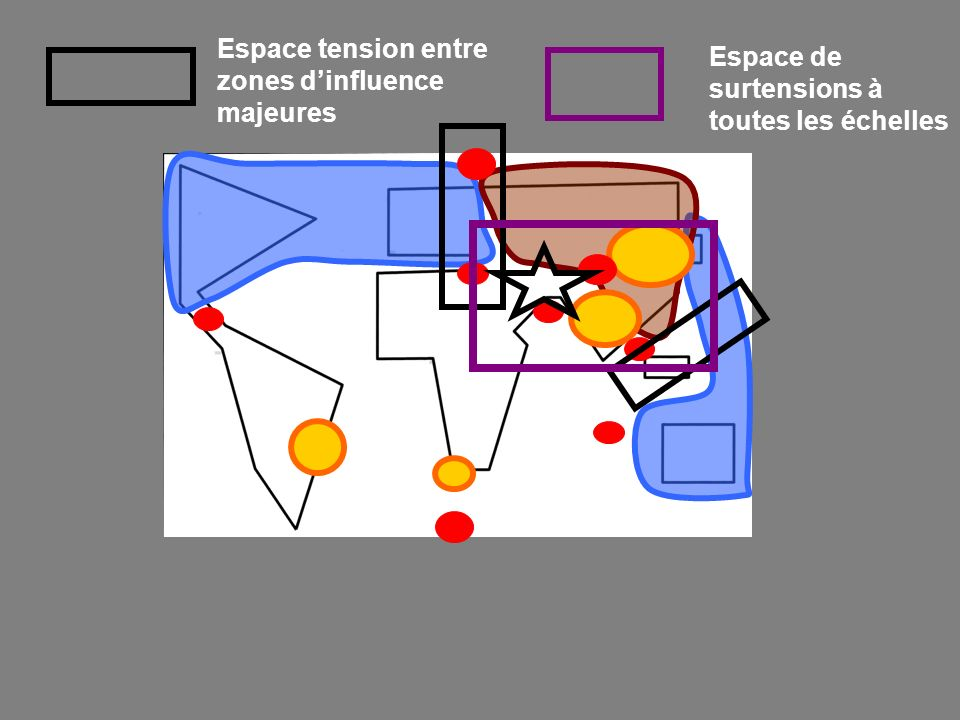 Espace tension entre zones d'influence majeures