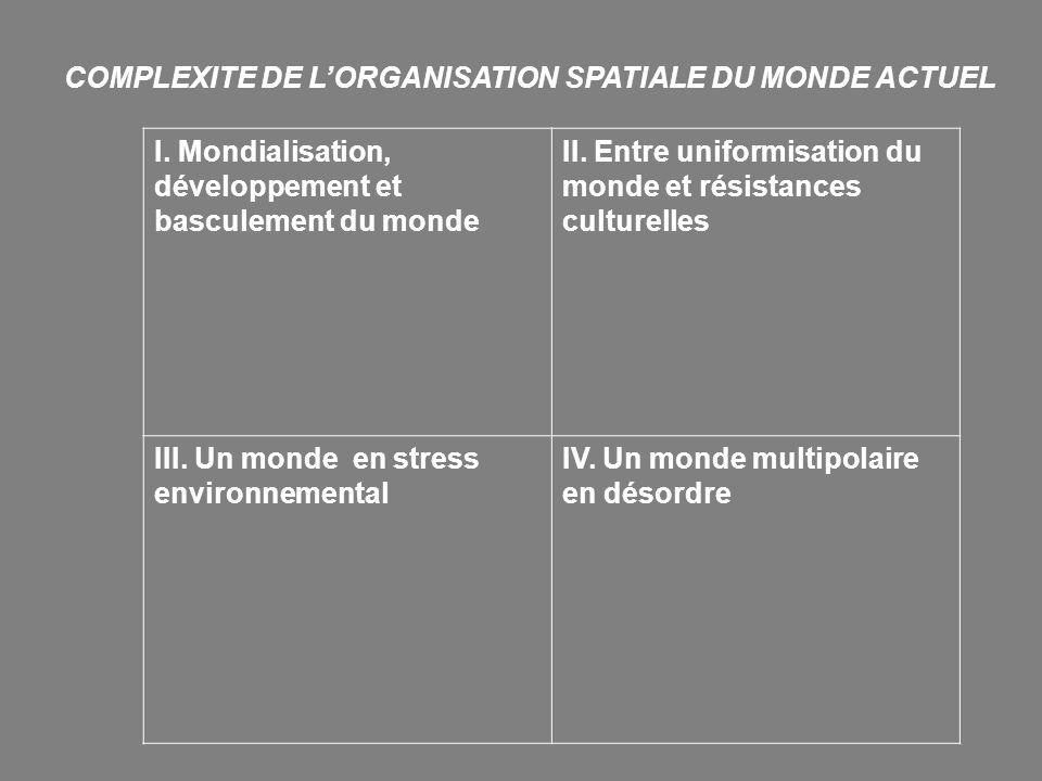 COMPLEXITE DE L'ORGANISATION SPATIALE DU MONDE ACTUEL