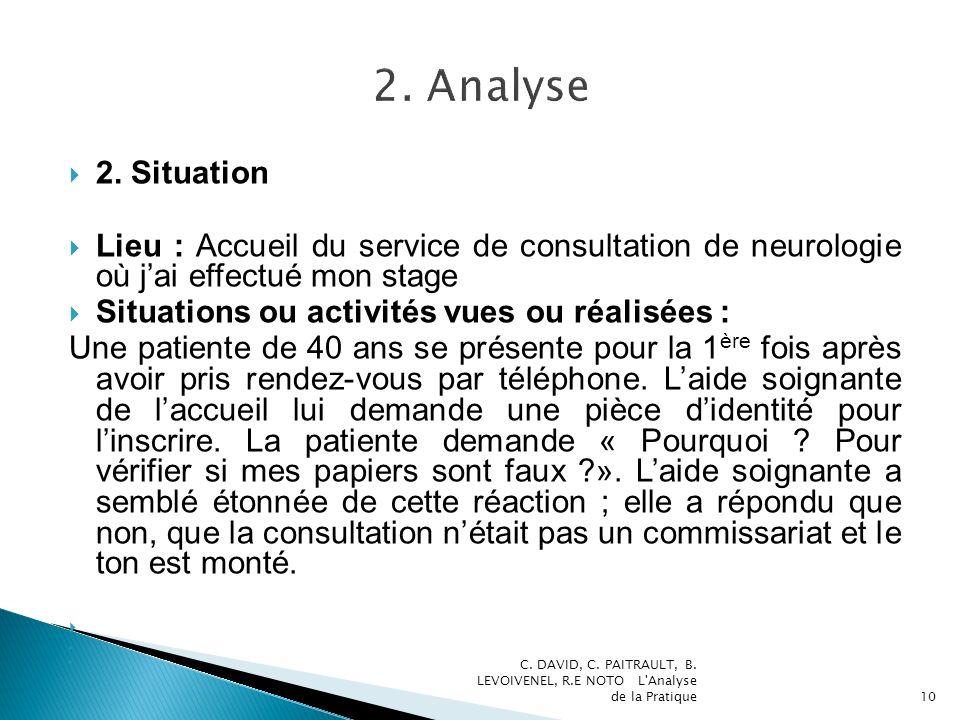 2. Analyse 2. Situation. Lieu : Accueil du service de consultation de neurologie où j'ai effectué mon stage