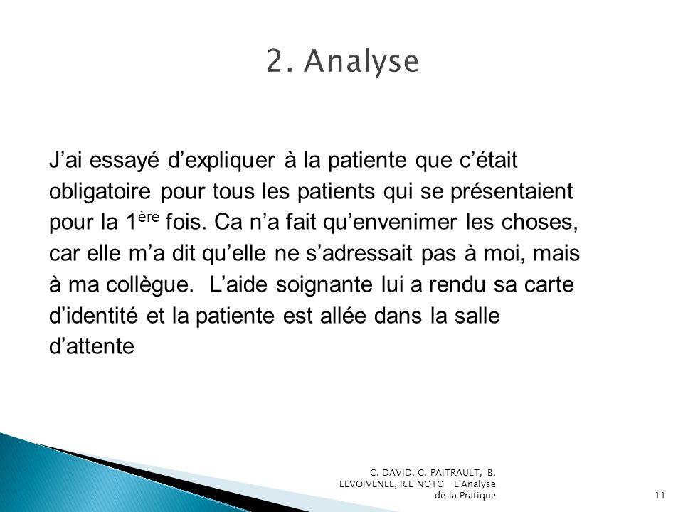 2. Analyse J'ai essayé d'expliquer à la patiente que c'était