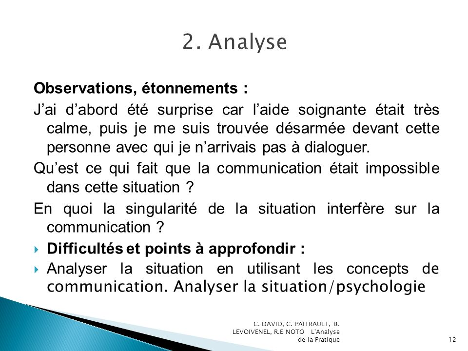 2. Analyse Observations, étonnements :