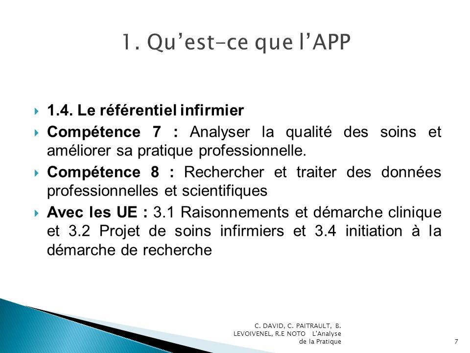 1. Qu'est-ce que l'APP 1.4. Le référentiel infirmier