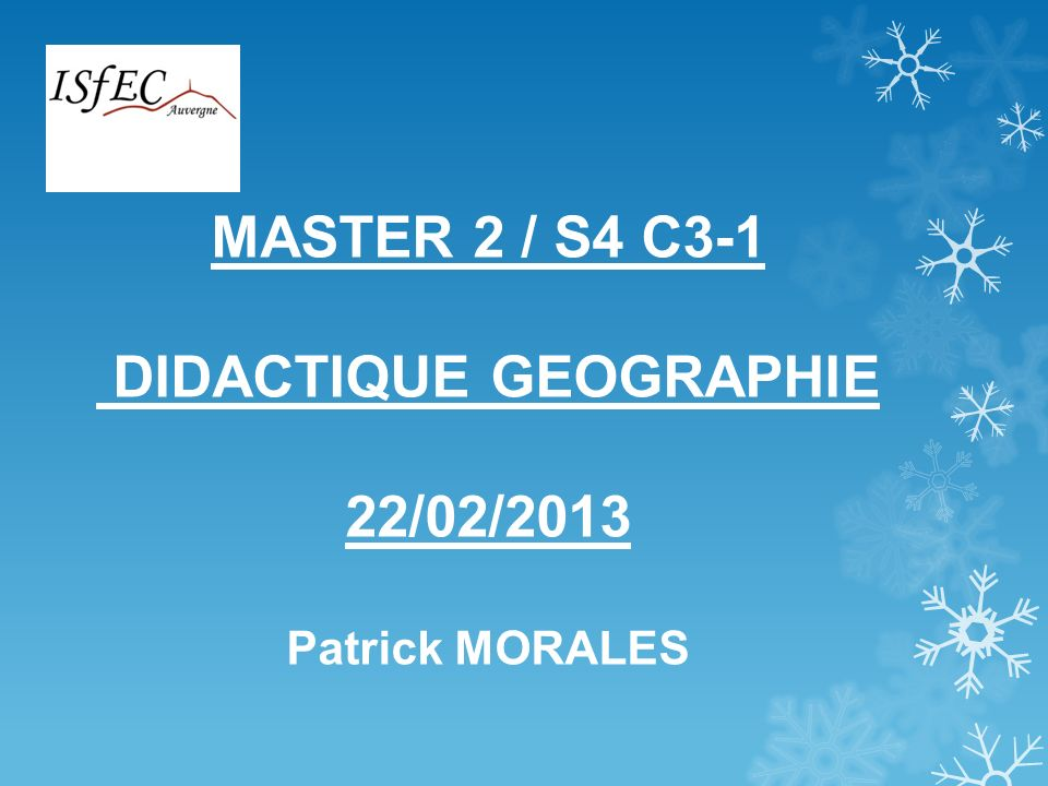 DIDACTIQUE GEOGRAPHIE