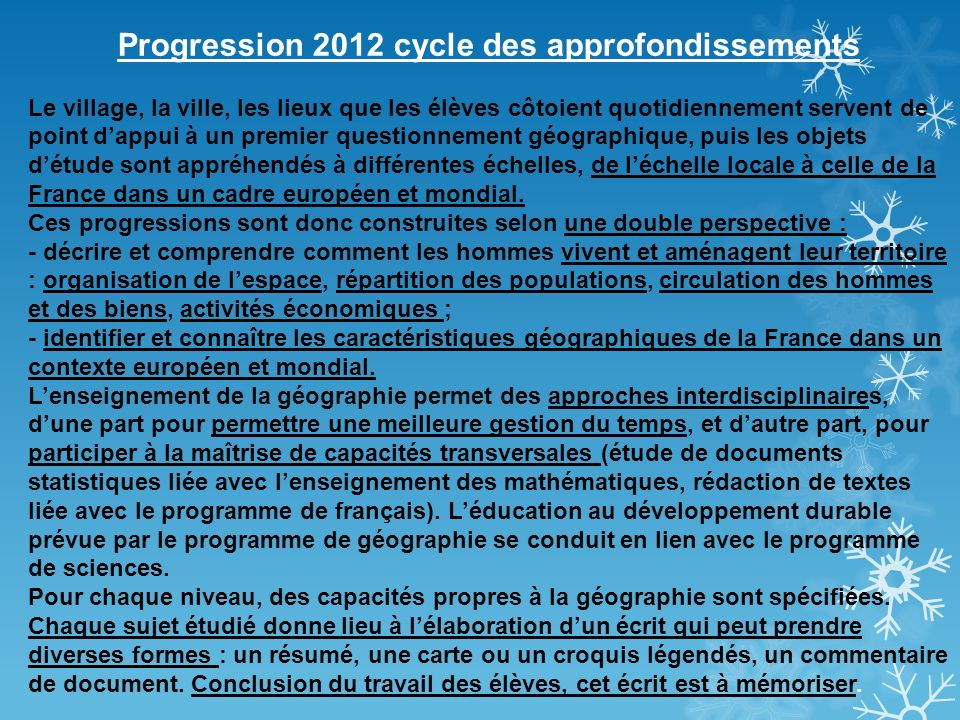 Progression 2012 cycle des approfondissements