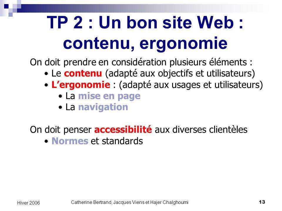TP 2 : Un bon site Web : contenu, ergonomie