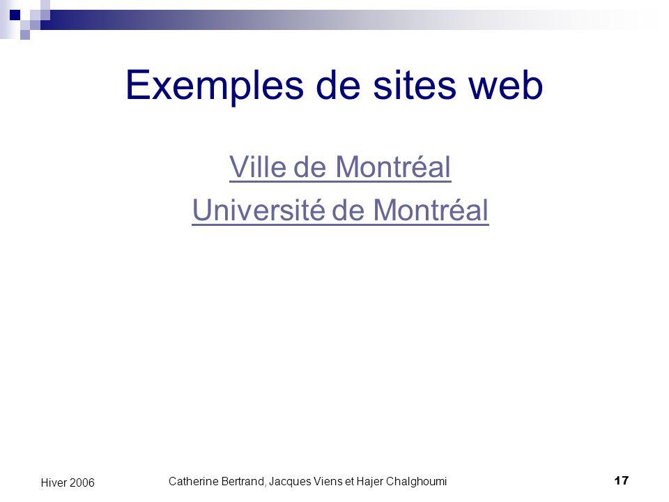 Exemples de sites web Ville de Montréal Université de Montréal