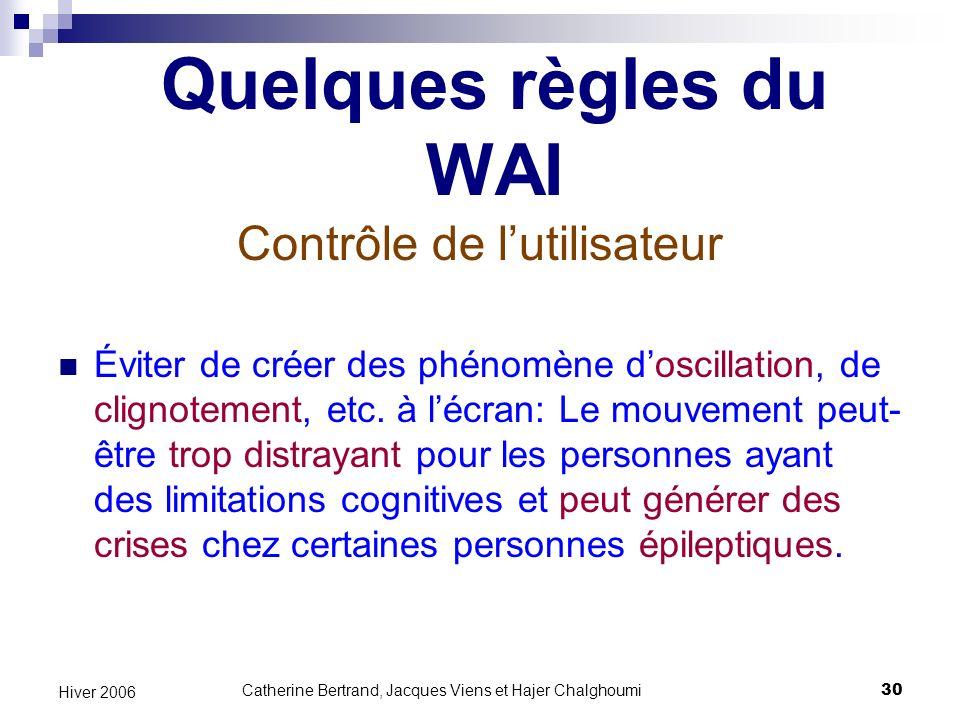 Quelques règles du WAI Contrôle de l'utilisateur