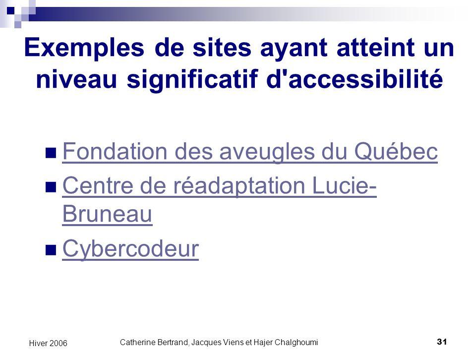 Exemples de sites ayant atteint un niveau significatif d accessibilité