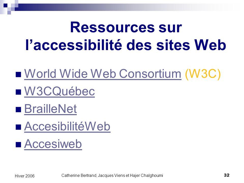 Ressources sur l'accessibilité des sites Web