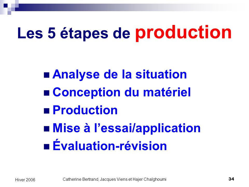 Les 5 étapes de production