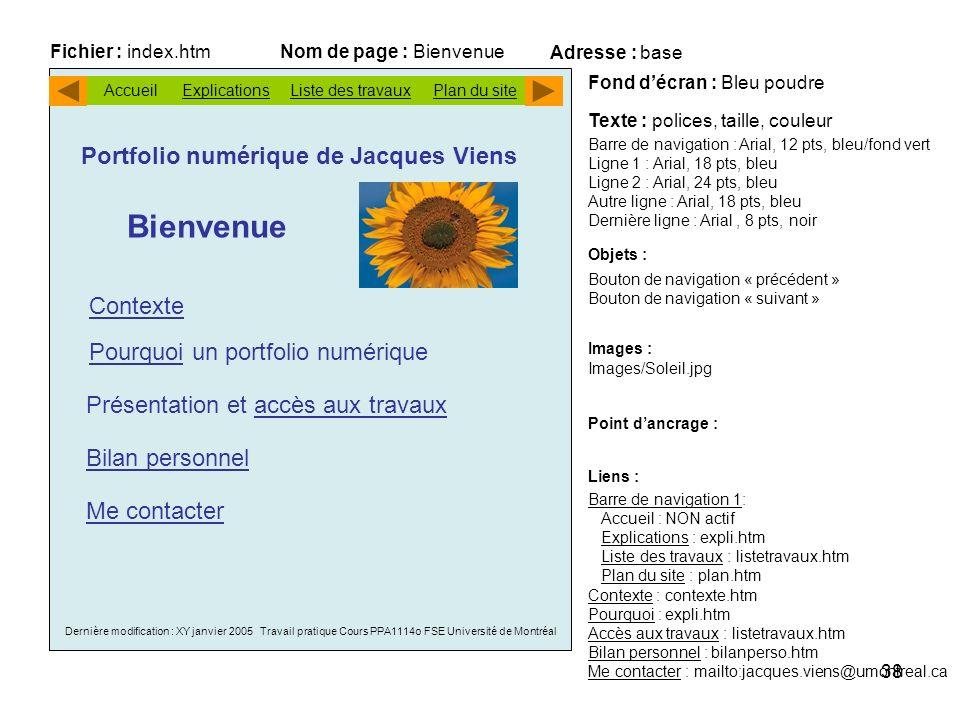 Bienvenue Portfolio numérique de Jacques Viens Contexte